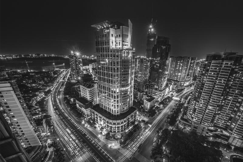 City Buildings at Night Time royalty free stock images