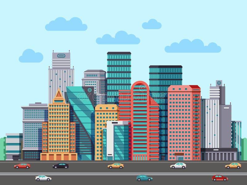 City buildings panorama. Urban architecture vector cityscape background. Architecture buildings cityscape, illustration of urban buisness building district stock illustration