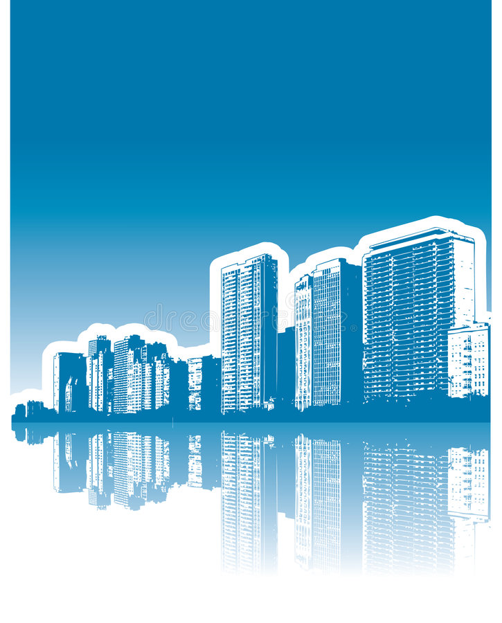 Download City buildings reflection stock vector. Image of distant - 5093207