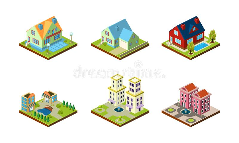 City buildings set, urban landscape esign elements, private real estate, public buildings vector Illustration on a white. City buildings set, urban landscape stock illustration