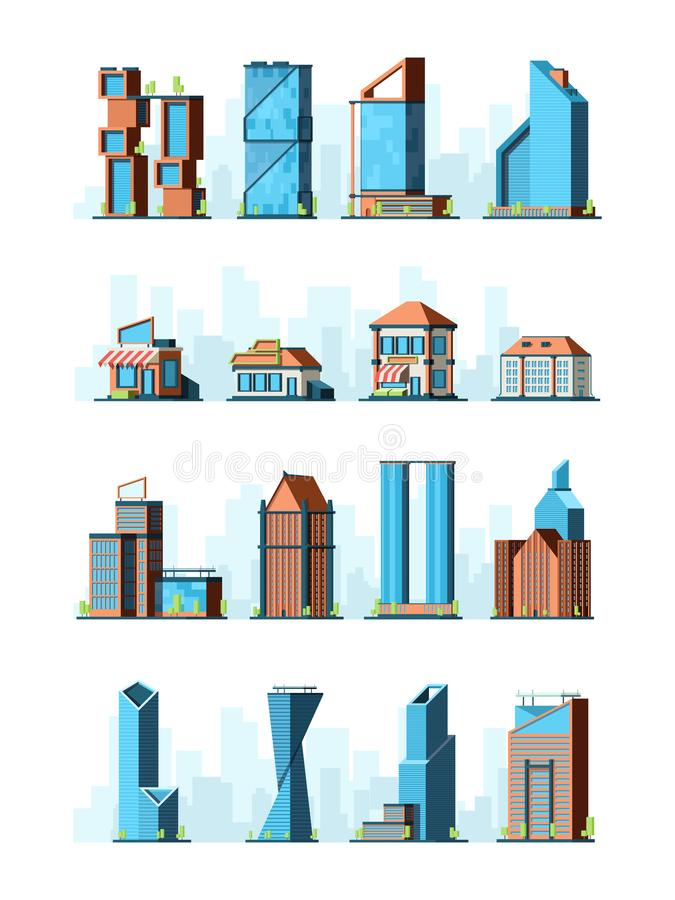 City buildings. Skyscraper street houses groceries village constructions vector 2d low poly game buildings. Illustration of building construction, modern vector illustration