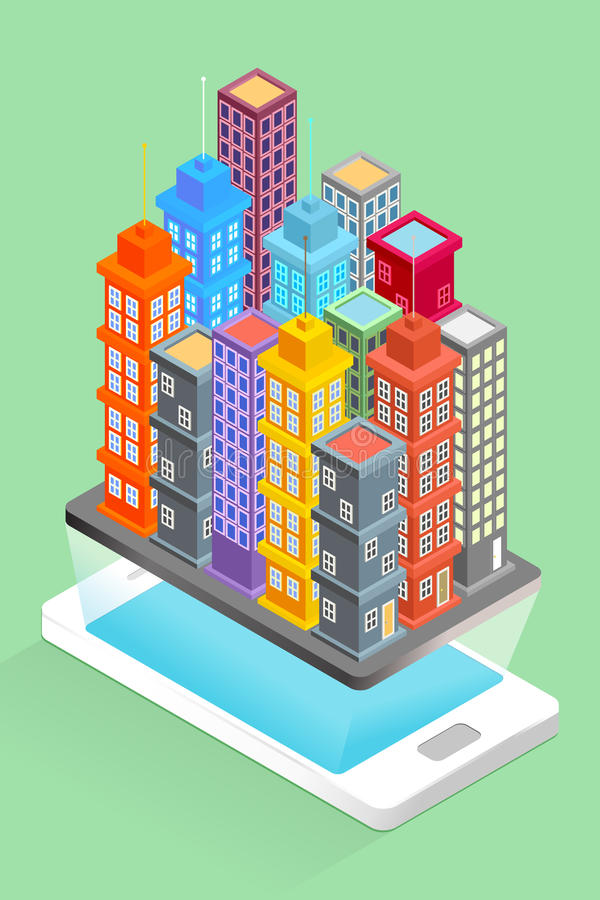 City Buildings on Smart Phone - Map Concept royalty free illustration