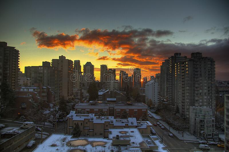 City Buildings during Sunset royalty free stock photo