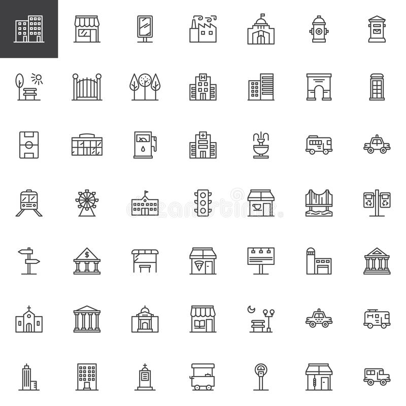 City buildings and transportation line icons set vector illustration