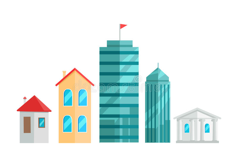 City Buildings Vector Illustration In Flat Design. royalty free illustration