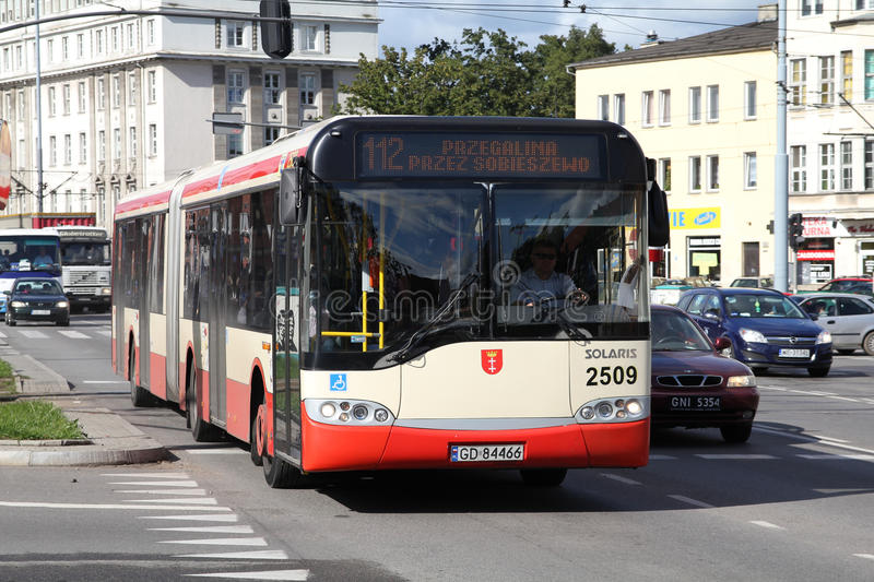 City bus. GDANSK - SEPTEMBER 2: Solaris articulated bus on September 2, 2010 in Gdansk, Poland. Since the founding in 2001, the output of Solaris buses has been stock photography