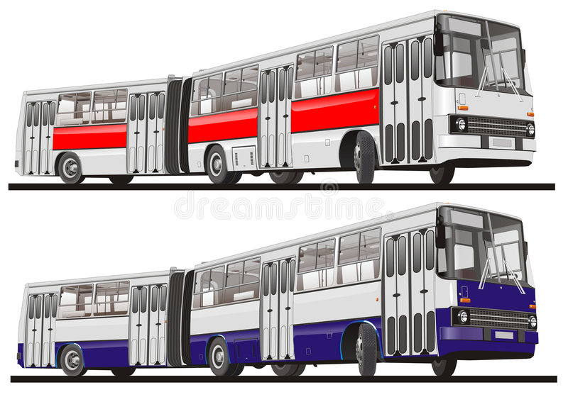 City bus articulated. Vector illustration city bus articulated. Isolated on white background. Include EPS 8 stock illustration