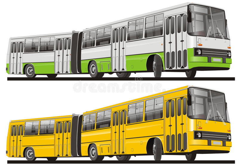 City bus isolated. Vector illustration city bus articulated. Isolated on white background royalty free illustration