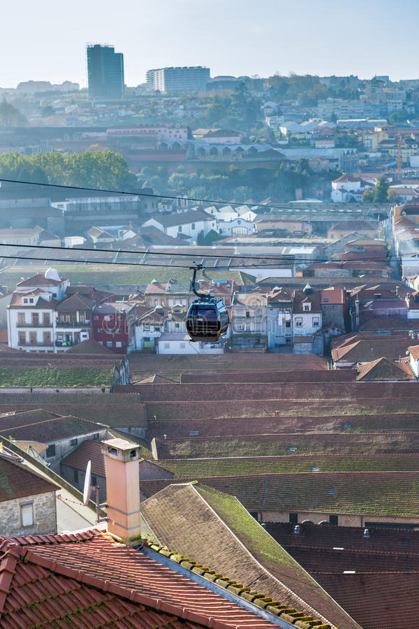 City cable car. Over the city of Gaia, Portugal royalty free stock photo