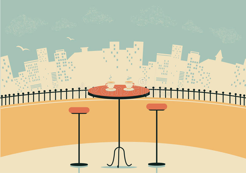 City cafe with table and cups of coffee royalty free illustration