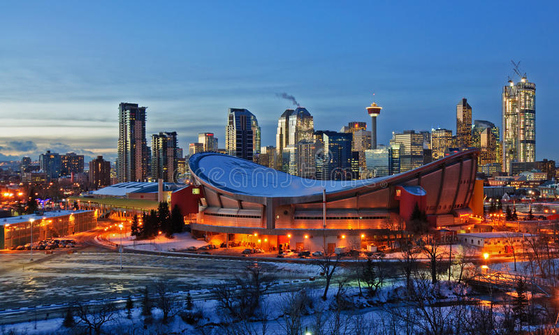 City of Calgary skyline at night in the winter stock photo