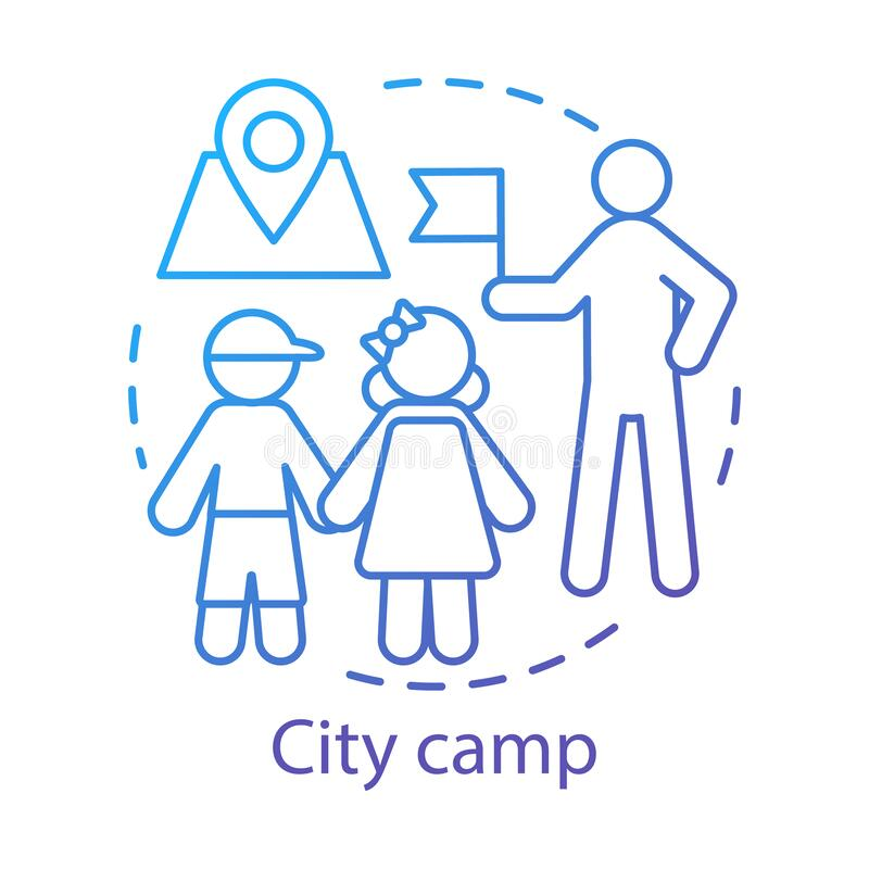 Free City Camp Concept Icon. Summer Urban Children Club, Holiday Pastime Idea Thin Line Illustration. Exploring Town Stock Image - 180294651