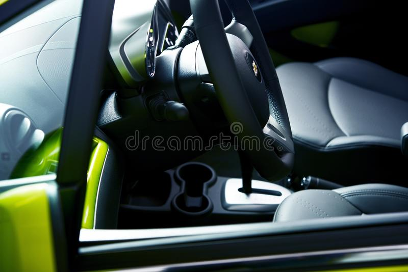 City Car Interior. Small City Car Interior. Modern Vehicle Design. Driver Seat Through the Window. Motorization Photography Collection royalty free stock photos