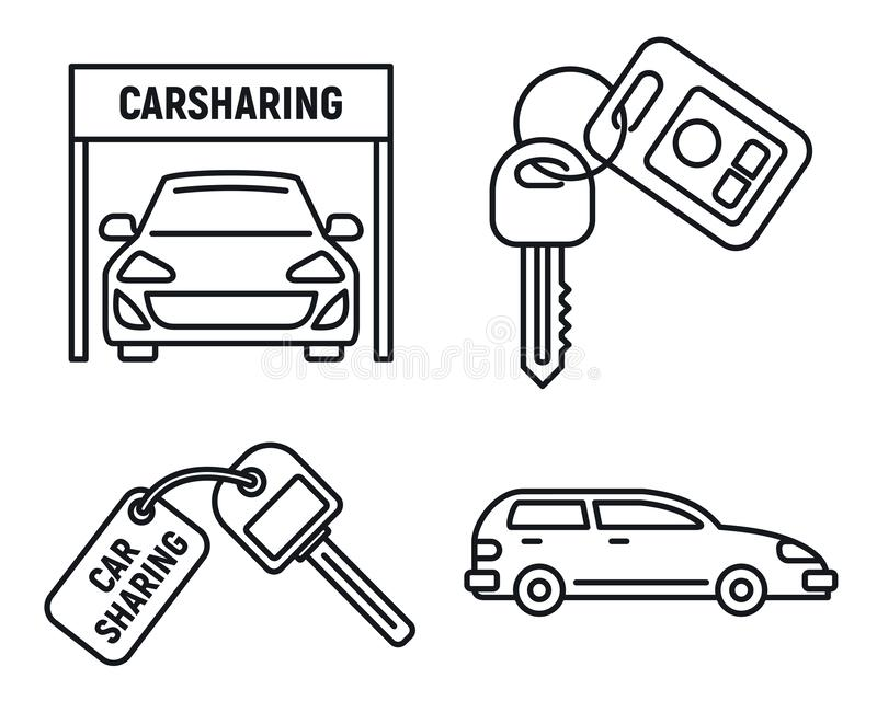 City car sharing icons set, outline style. City car sharing icons set. Outline set of city car sharing vector icons for web design isolated on white background vector illustration