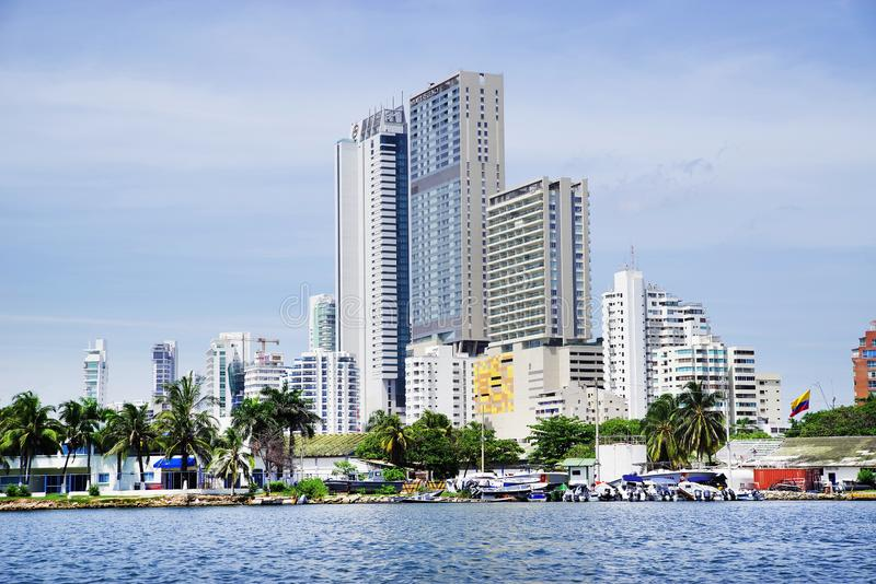 CARTAGENA, COLOMBIA - AUGUST 10, 2018: Cityscape of modern Cartagena, famous resort in Colombia royalty free stock images