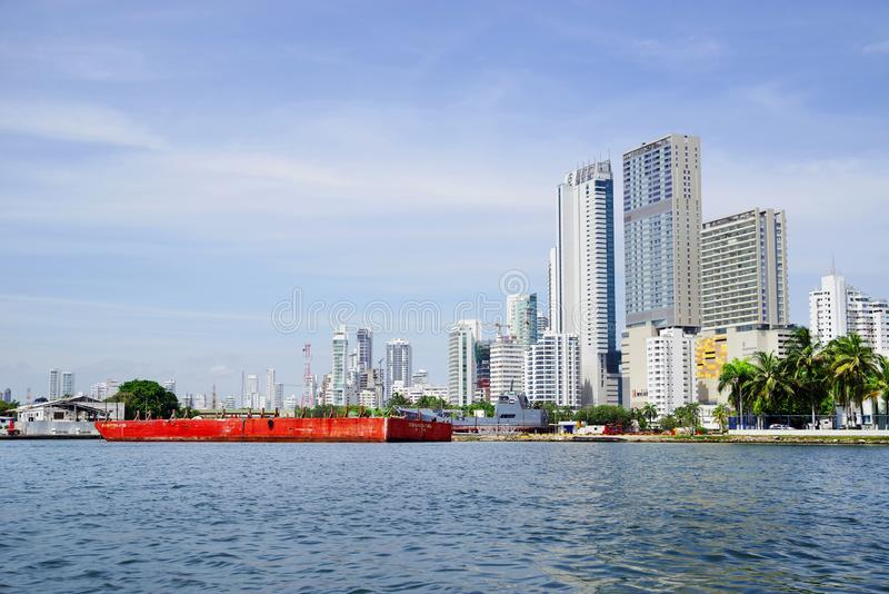 CARTAGENA, COLOMBIA - AUGUST 10, 2018: Cityscape of modern Cartagena, famous resort in Colombia stock image