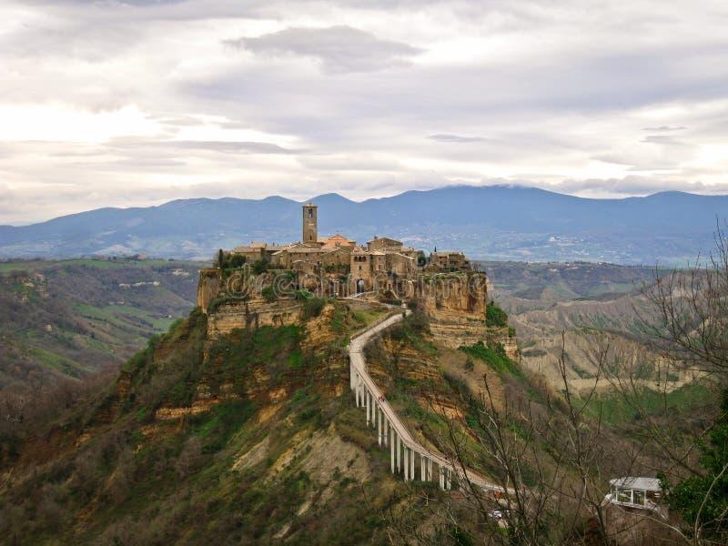 City-castle on the rock Civita-di-Bagnoredgio. Italian city-castle on the rock Civita-di-Bagnoredgio near Rome stock photos