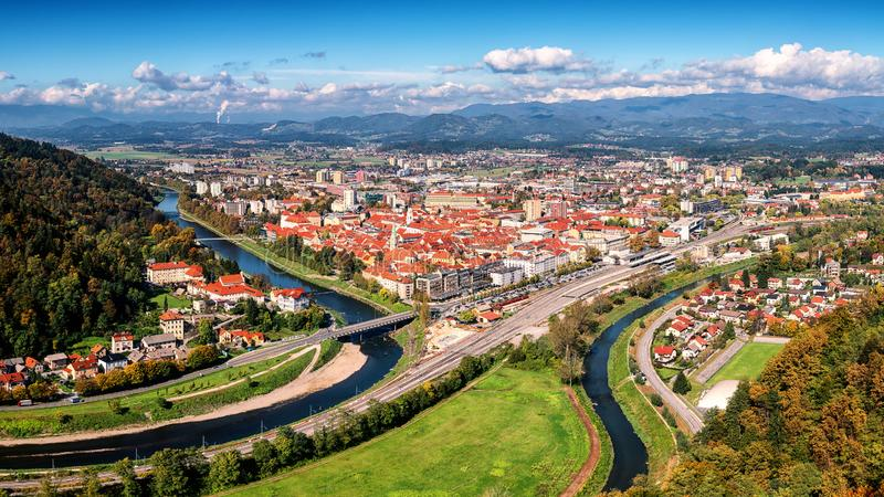 City of Celje in Slovenia, aerial view from old castle, amazing landscape, outdoor travel background. City of Celje in Slovenia, Styria, panoramic aerial view royalty free stock image