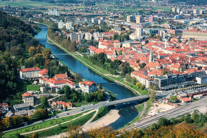 City of Celje in Slovenia, aerial view from old castle, amazing landscape, outdoor travel background. City of Celje in Slovenia, Styria, panoramic aerial view stock photo