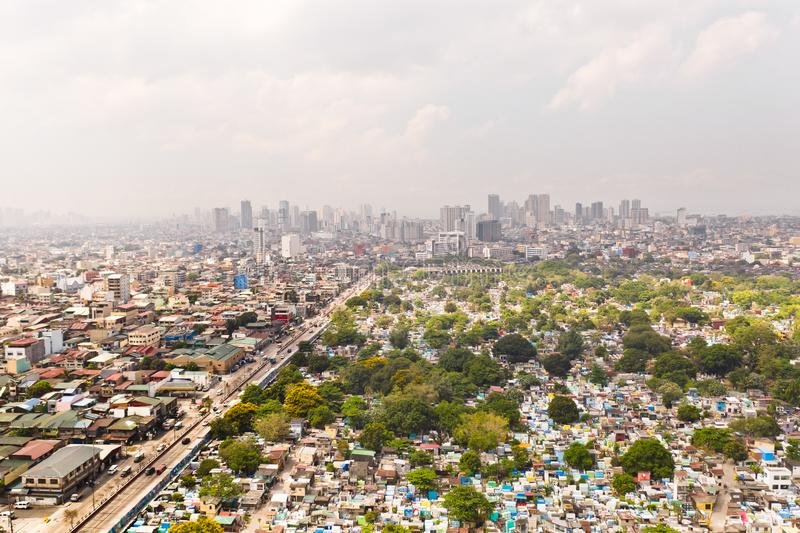 City cemetery in Manila, view from above. Old cemetery with residential buildings. City of Manila, in sunny weather. City cemetery in Manila, view from above royalty free stock photo