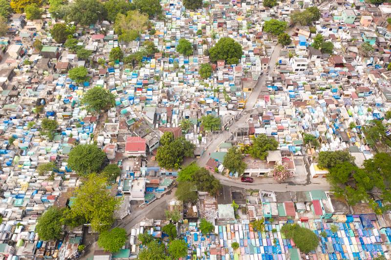 City cemetery in Manila, view from above. Old cemetery with residential buildings. City cemetery in Manila, view from above. Many stone coffins and crypts. Old stock image