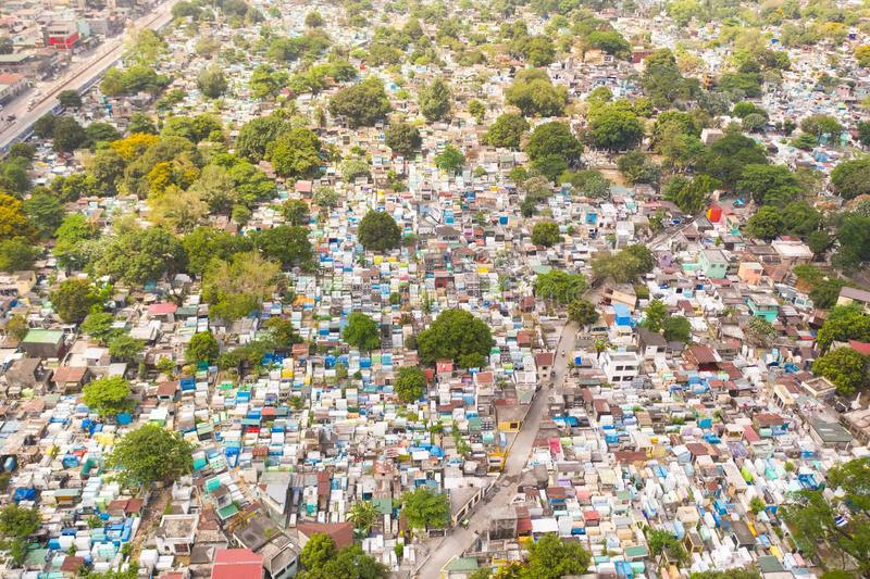 City cemetery in Manila, view from above. Old cemetery with residential buildings. City cemetery in Manila, view from above. Many stone coffins and crypts. Old royalty free stock images