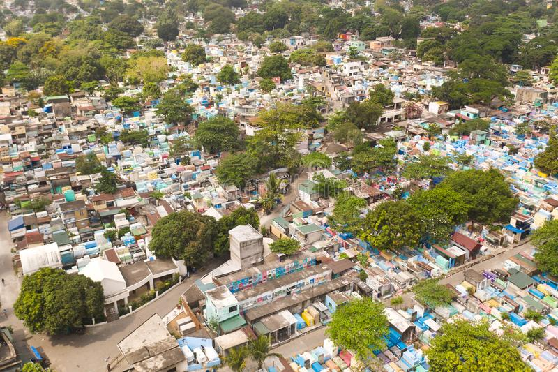 City cemetery in Manila, view from above. Old cemetery with residential buildings. City cemetery in Manila, view from above. Many stone coffins and crypts. Old stock photography