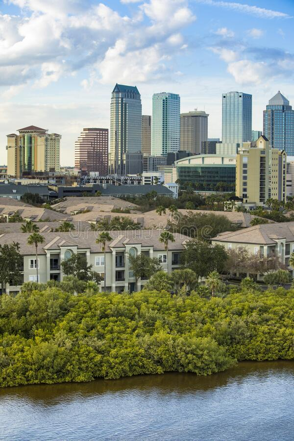 City center and financial district of Tampa, Florida with condos in foreground royalty free stock photos