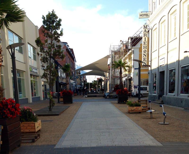 City center Frederikshavn Denmark. Wiew of street in Frederikshavn Denmark royalty free stock images