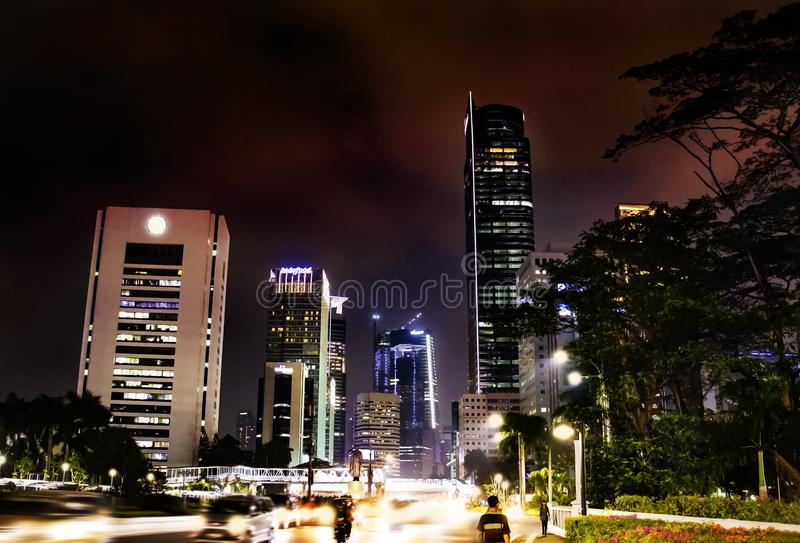 City center of Jakarta at night royalty free stock images