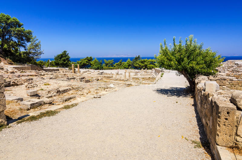 City center in Kamiros ruins. Beautiful summer landscape of Rhodes island royalty free stock images