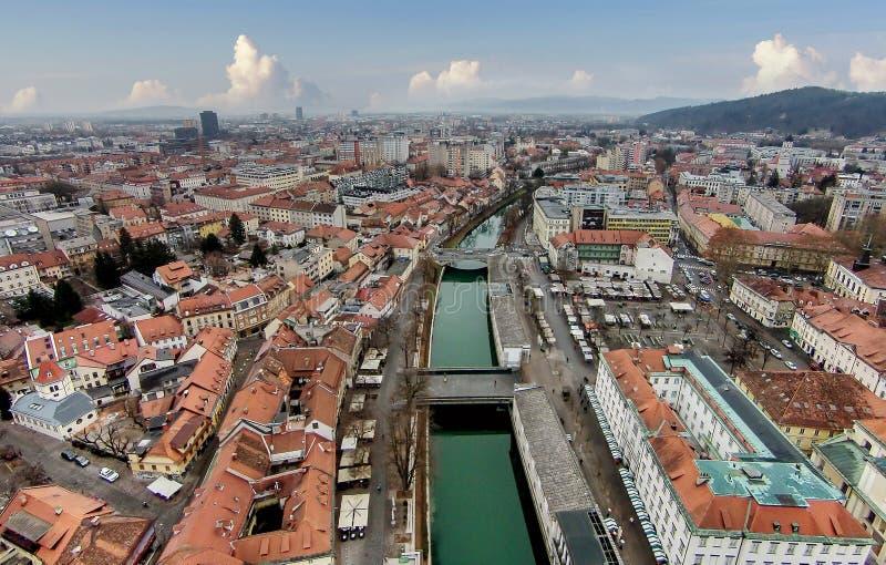 City center of Ljubljana with the river Ljubljanica and the triple bridge Tromostovje, Slovenia royalty free stock image