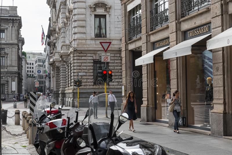 City center of Milan and Trussardi shop. Symbol and concept of luxury, shopping, elegance and made in Italy royalty free stock photos