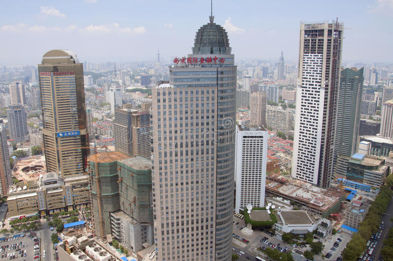 City center of Nanjing, China stock image