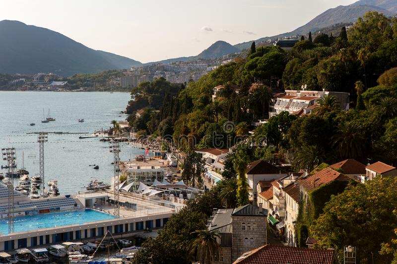 City center near the water in the Herceg Novi royalty free stock photography