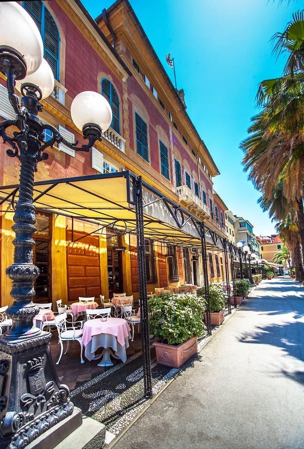 The city center of Sestri Levante Italy stock image