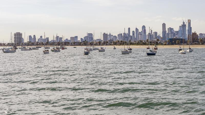 The city center and the skyline of Melbourne, Australia, seen from St Kilda Pier on a sunny day stock photo