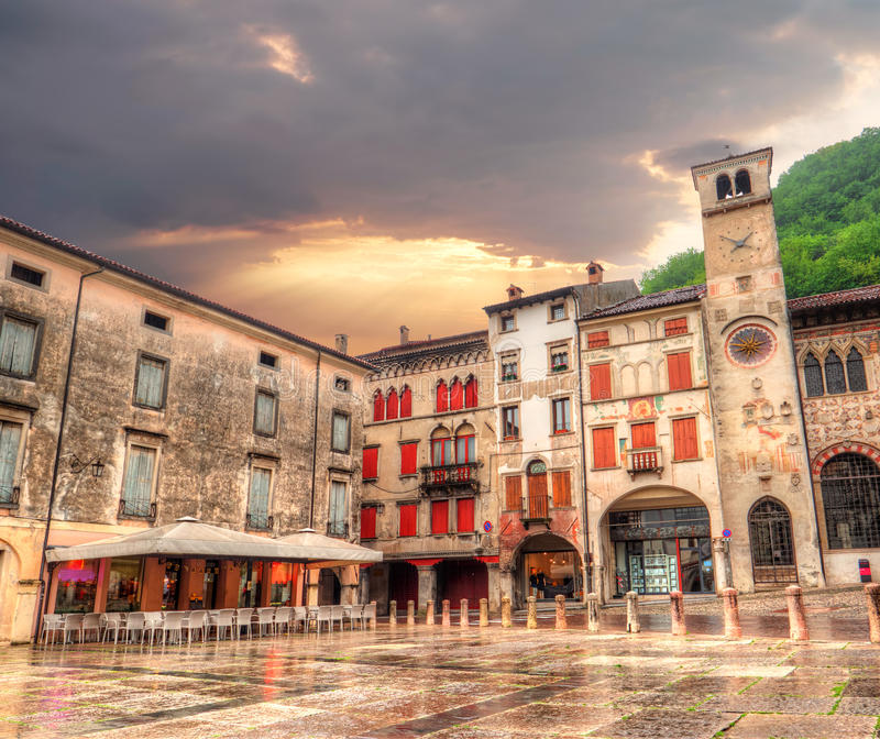 City center, Treviso province in Italy stock image