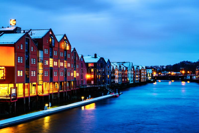City center of Trondheim, Norway during the cloudy winter night stock photo