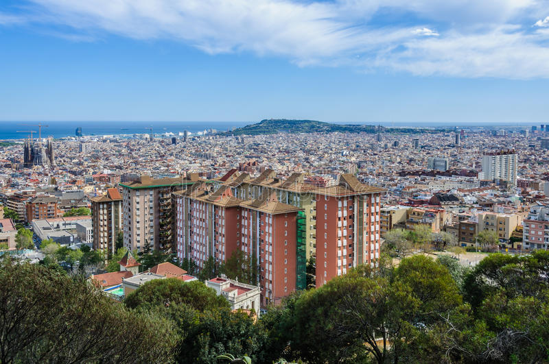 The city center from Turo del Rovira in Barcelona, Spain. The city center from the hill of Turo del Rovira in Barcelona, Catalonia, Spain royalty free stock photography