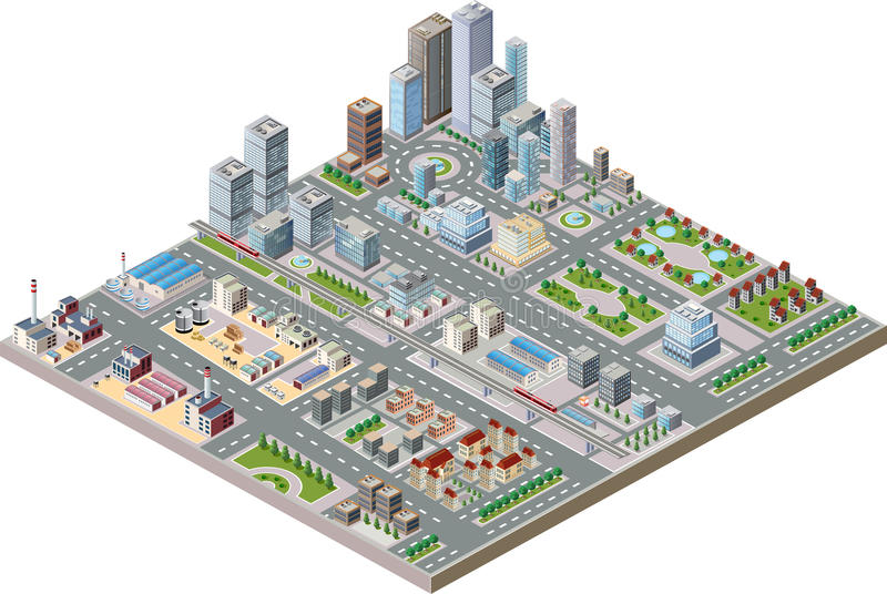 City center. Vector isometric city center on the map with lots of buildings, skyscrapers, factories, and parks