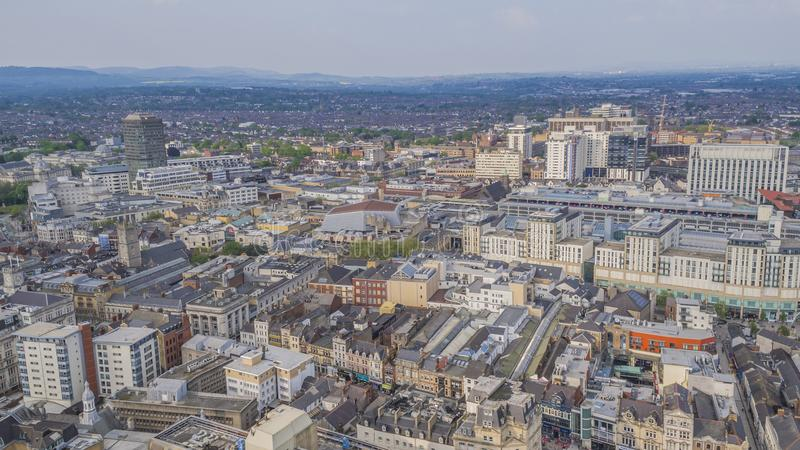 Aerial view of Cardiff City Centre stock images