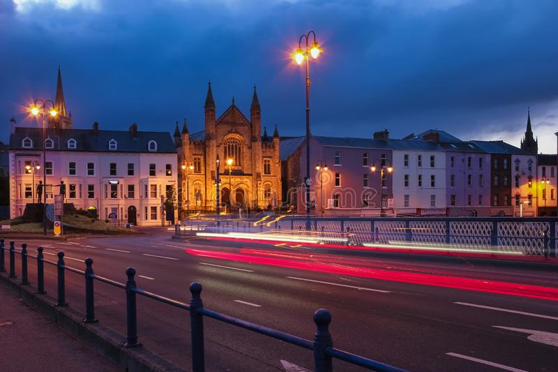 Night view. Derry Londonderry. Northern Ireland. United Kingdom. City centre at night. Bridge street and Carlisle Road Presbiterian Church illuminated. Derry stock photos