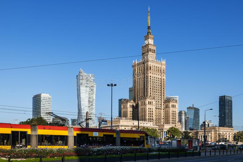 City Centre Skyline of Warsaw in Poland stock photo