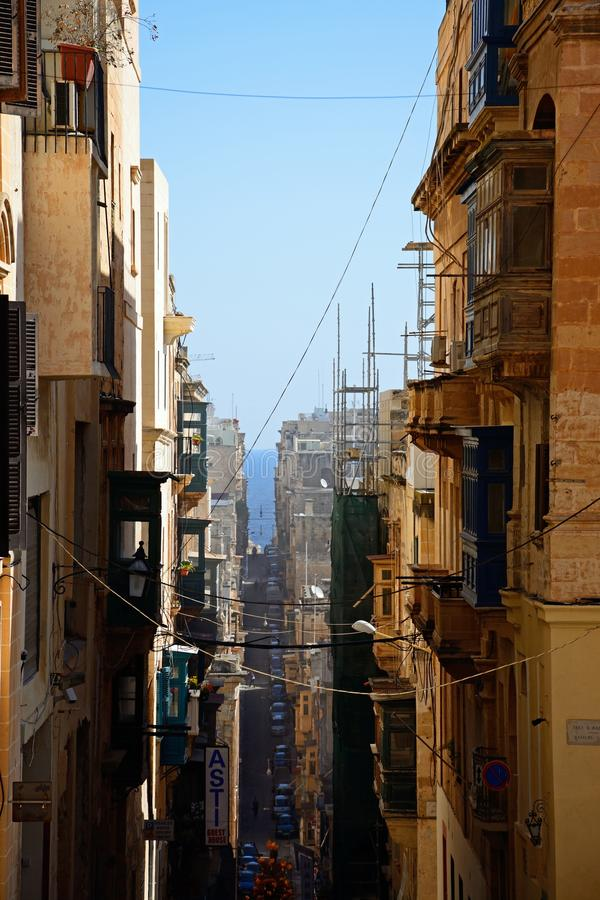 City centre street, Valletta. royalty free stock photography