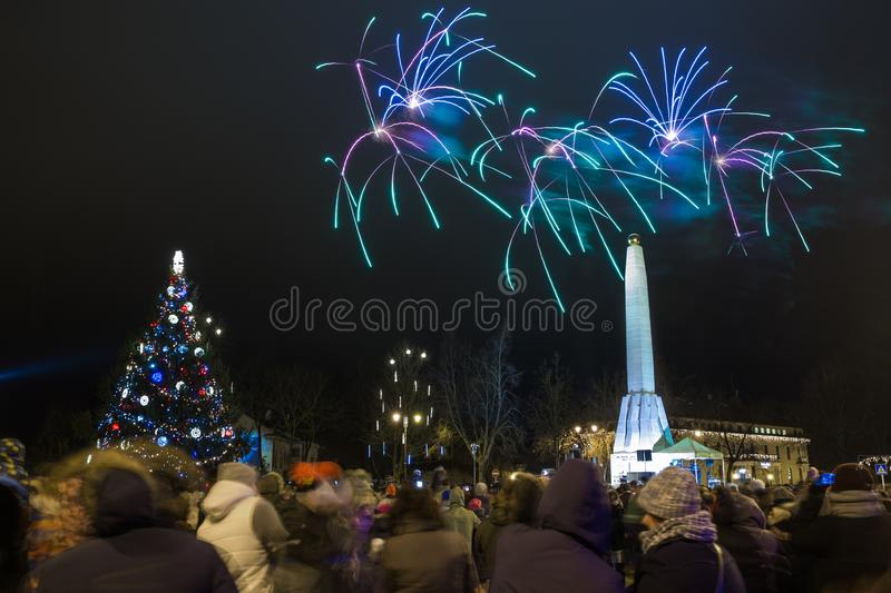 New 2019 year clebration at old city center. Winter and fireworks. Travel urban photo 2019 royalty free stock photography