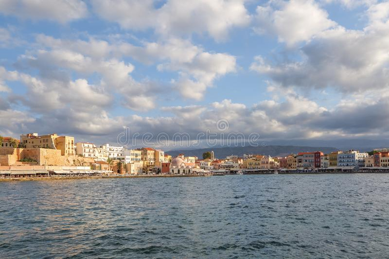 The city of Chania is a port on the west coast of the Cretan Sea in Greece. A tourist attraction, a quay, interesting architectre. stock images