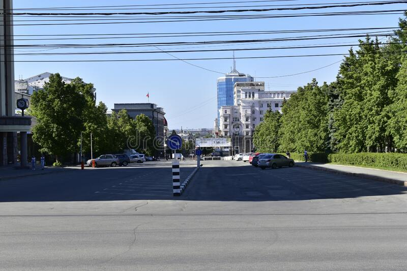 `City of Chelyabinsk, Ural / Russian Federation - 06/ 11/ 2020: View of revolution square, Russian Railways building and Kirov str. Eet.The building is a result royalty free stock images