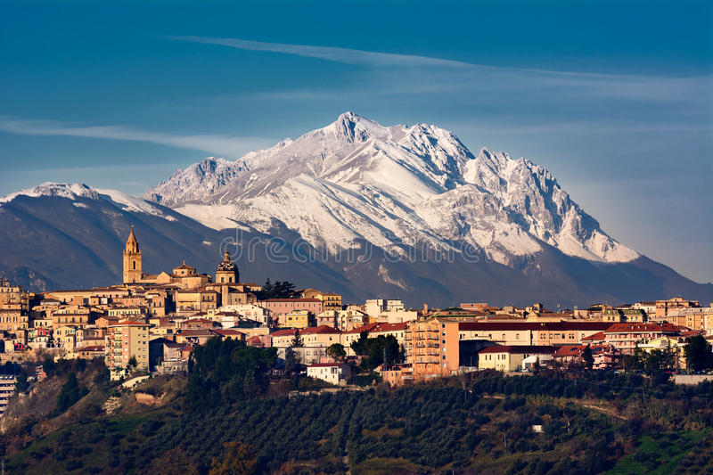 The city of Chieti and behind the mountain of Gran Sasso royalty free stock photo