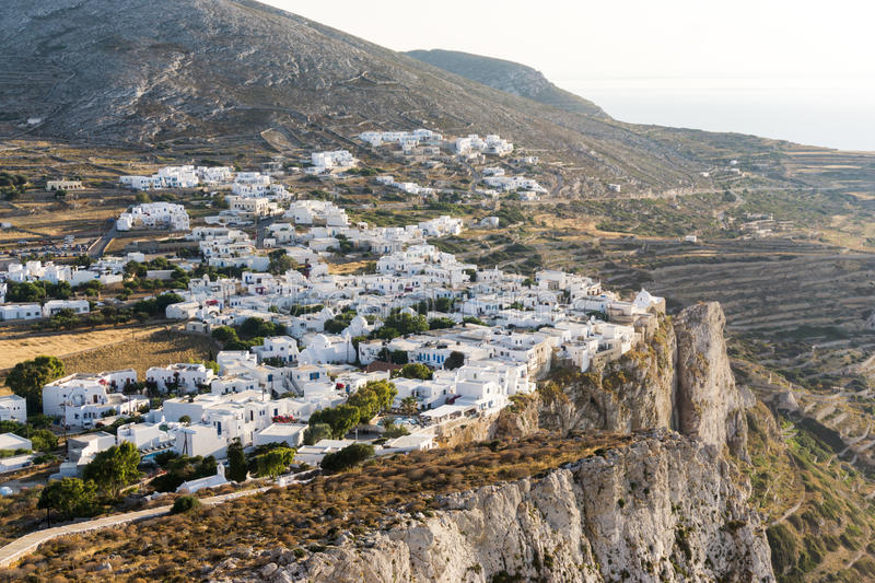 The city of Chora on Folegandros island. Greece, placed on the edge of a steep cliff stock images